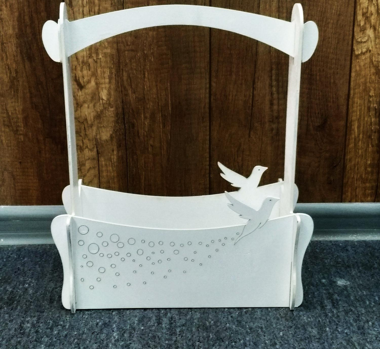 Wooden Basket With Hummingbird Decorative Gift Laser Cut Free CDR Vectors Art