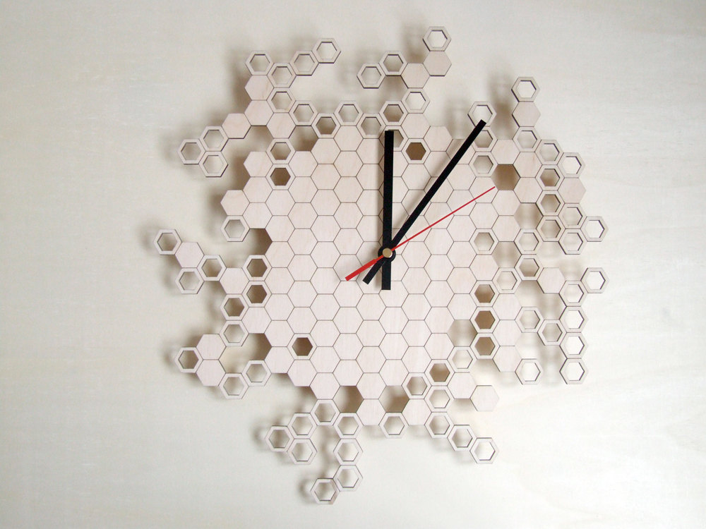 Laser Cut Honeycomb Wall Clock Home Decor Free DXF File