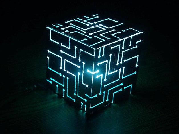 Laser Cut Cube Table Lamp Free CDR Vectors Art
