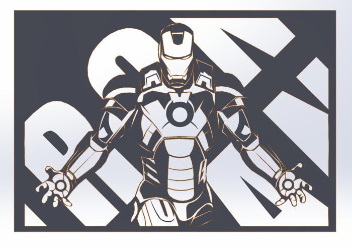 Wall Art Industrial Laser Iron Man Decoratve Panel Free CDR Vectors Art