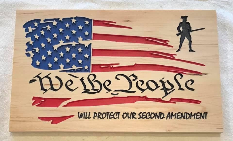 Laser Cut We The People Protect 2nd Amendment Flag Free DXF File