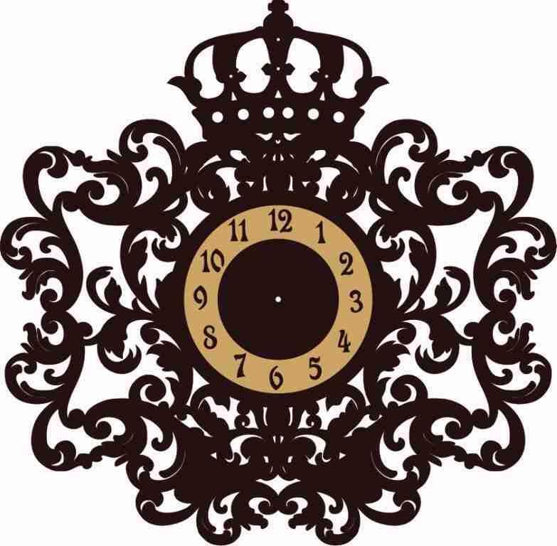 Crown Monogram Wall Clock Free CDR Vectors Art