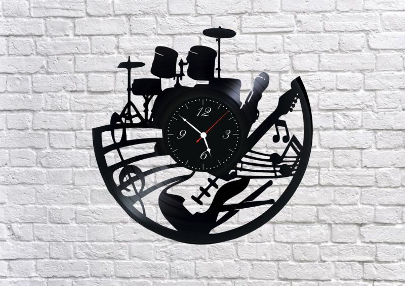 Laser cut vinyl Music Band Wall Clock Free CDR Vectors Art