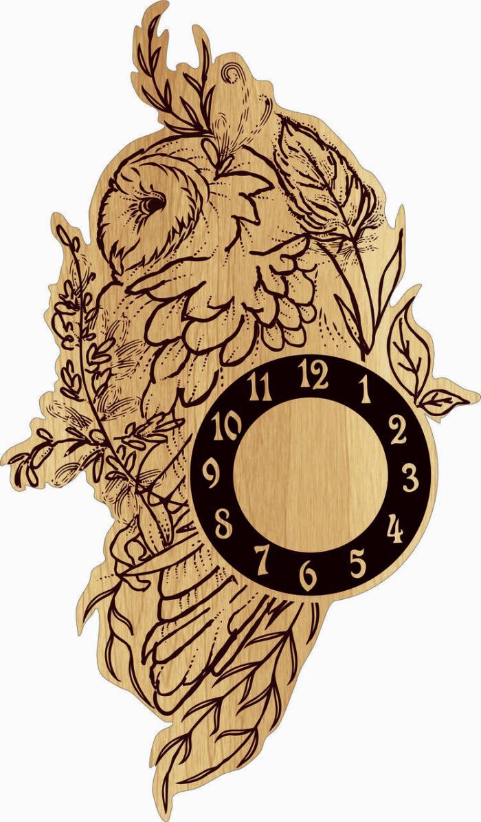 Owl Wall Clock Free CDR Vectors Art
