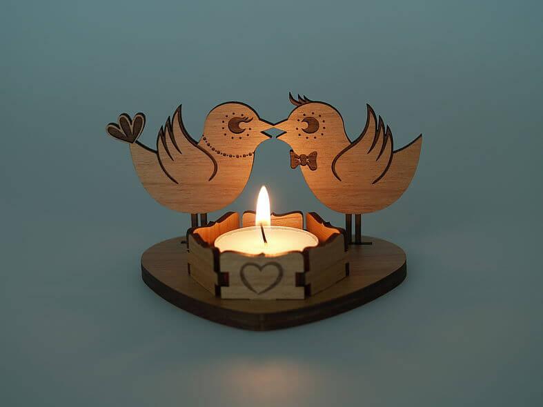 Laser Cut Wooden Tea Light Candle Holder Free PDF File