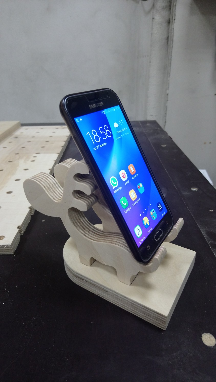 Laser Cut Wooden Deer Phone Stand Holder Charging Dock Free PDF File