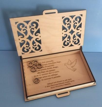 Laser Cut Engraved Wood First Communion Jewelry Box Free PDF File