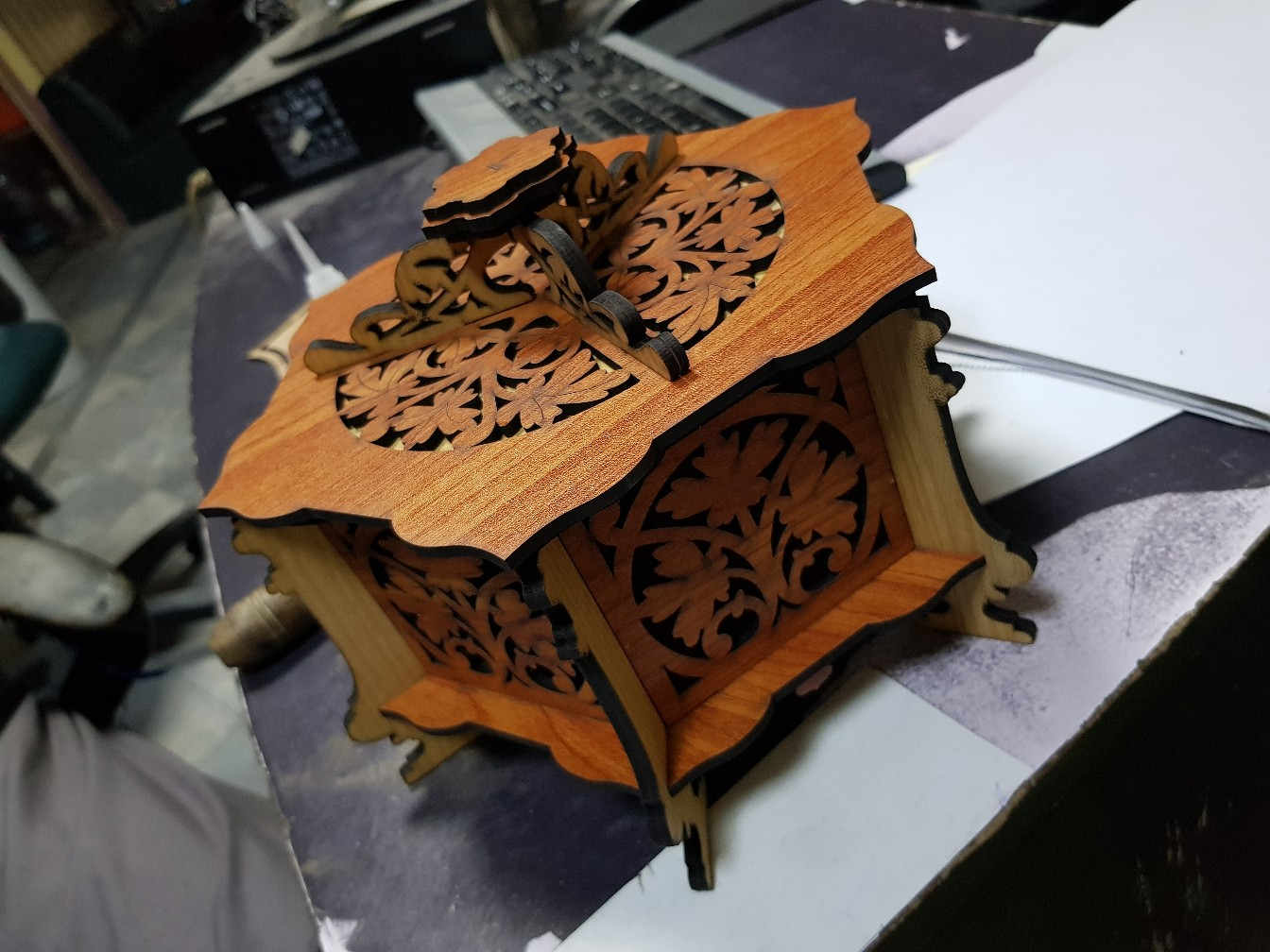 Wooden Hexagonal Box Cnc Router Laser Template Free PDF File