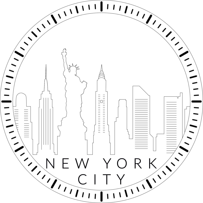 New York City Skyline Clock Laser Cut Template Free PDF File