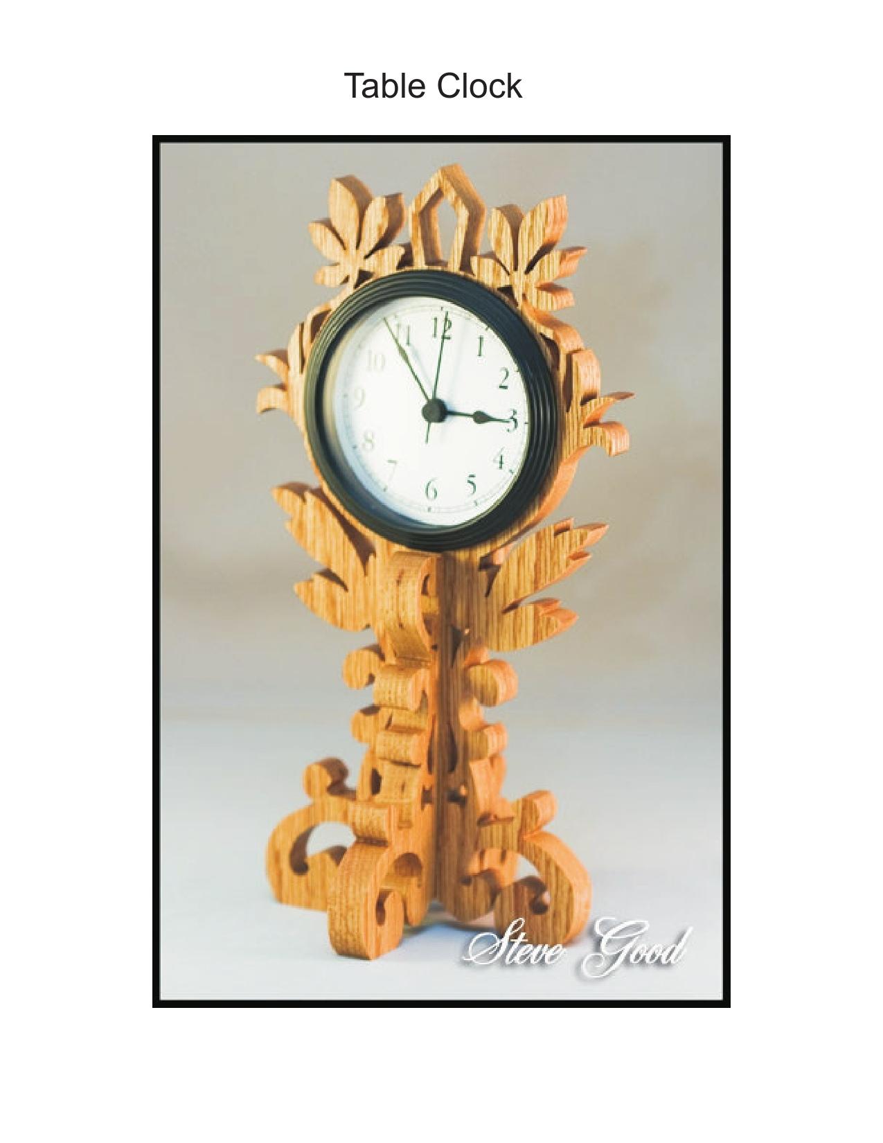 Table Clock Scroll Saw Pattern Free PDF File