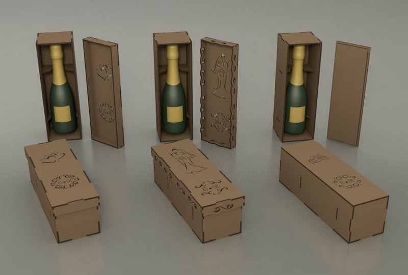Decorative Wine Bottle Box Gift Box Free CDR Vectors Art