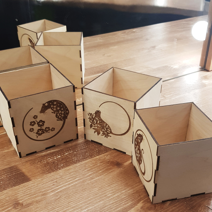 Laser Cut Wooden Mouse Engraved Boxes Free CDR Vectors Art