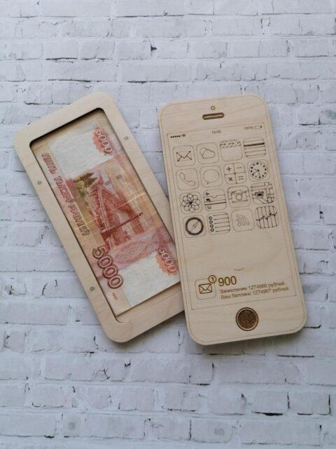 Wooden Wallet Bank Notes Box Iphone Shaped Free CDR Vectors Art