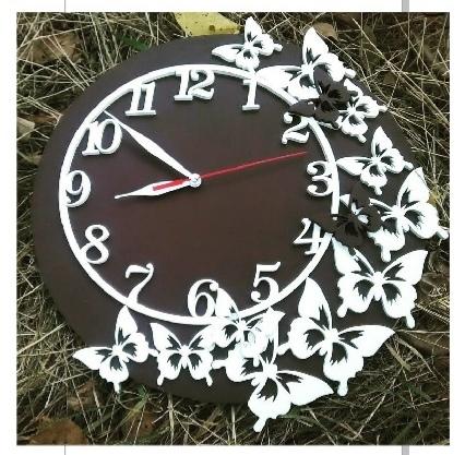 Butterflies Wall Clock Free CDR Vectors Art