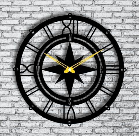 Compass Wall Clock Free CDR Vectors Art