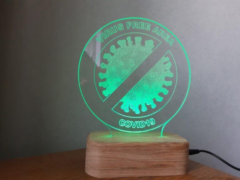 Coronavirus Free Zone Sign Acrylic Lamp Free CDR Vectors Art