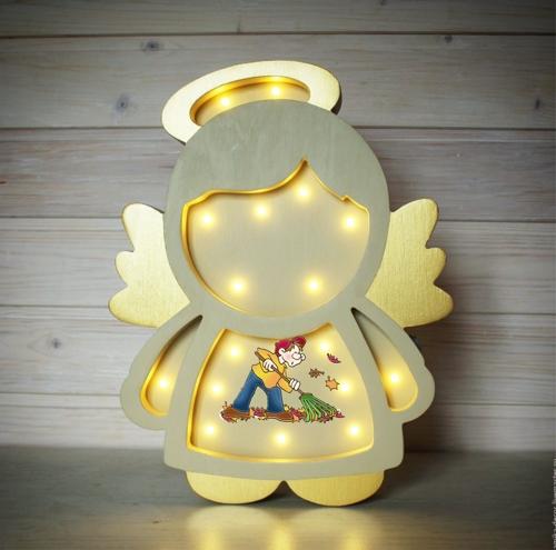 Laser Cut Angel Kids Room Night Light Lamp 5mm Free CDR Vectors Art
