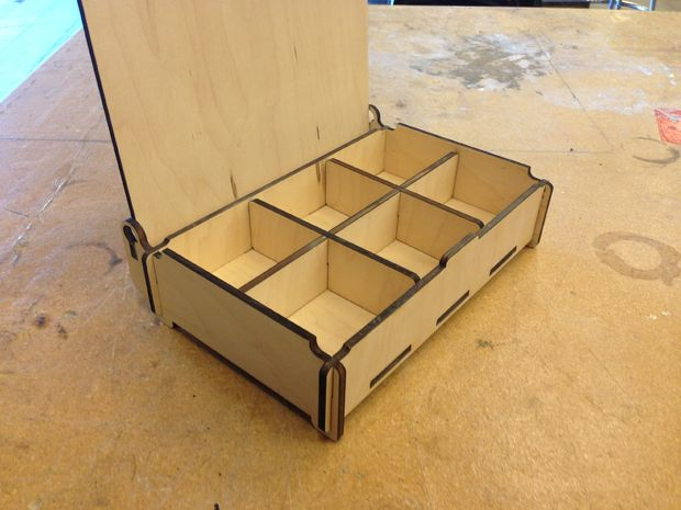Wooden Box With Compartments And Lid Free DXF File