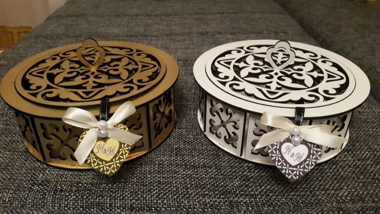 Laser Cut Decorative Wooden Round Box Candy Basket Free CDR Vectors Art