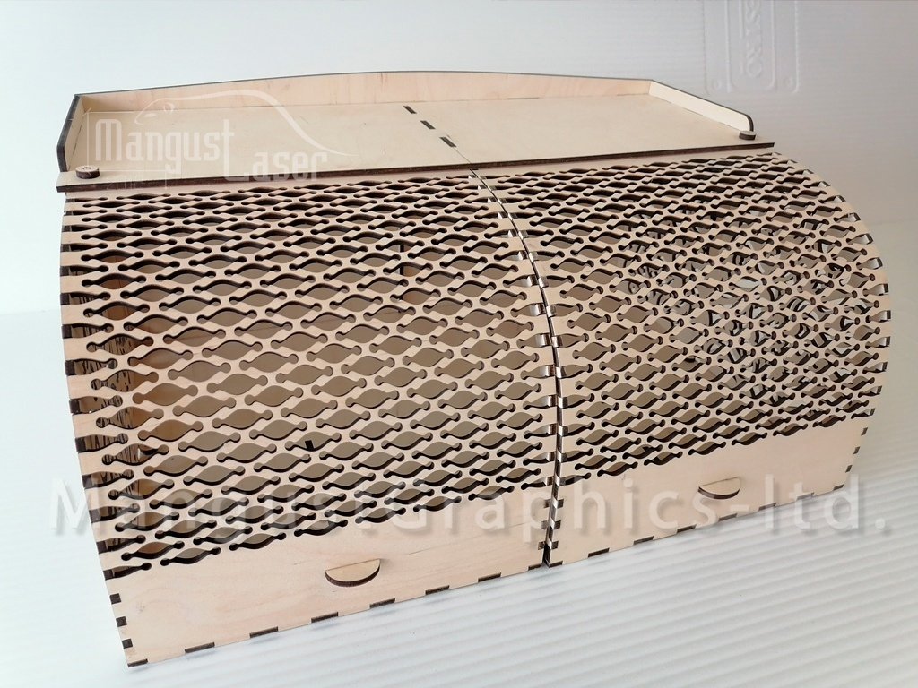 Laser Cut Wood Bread Box With Front Opening Doors Free CDR Vectors Art