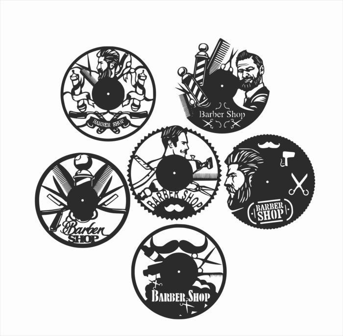Laser Cut Barber Shop Vinyl Wall Clocks Free CDR Vectors Art
