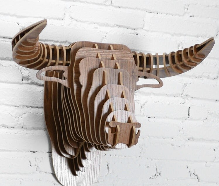 Laser Cut Bull Head Wall Decor 3d Animal Head Free CDR Vectors Art