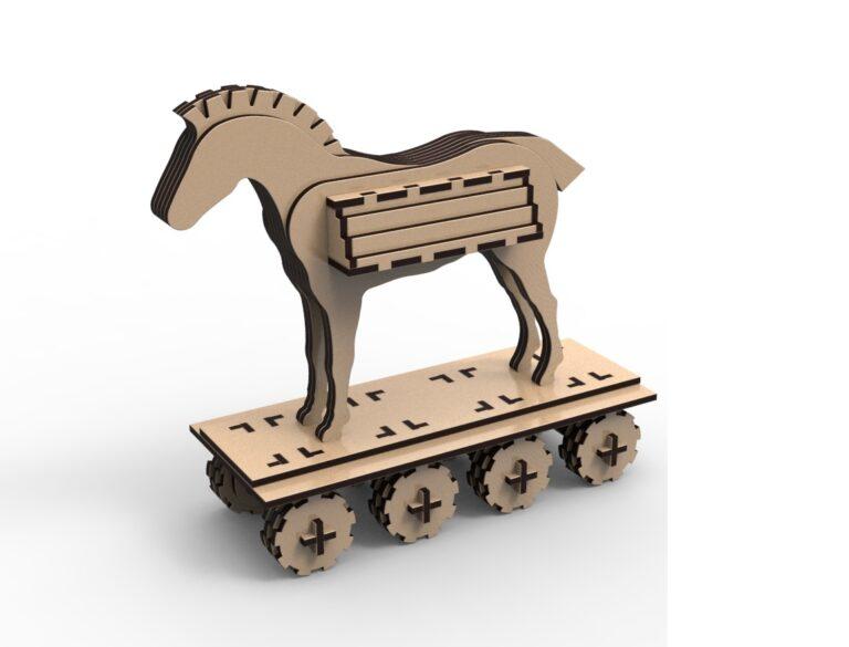 Laser Cut Trojan Horse Free CDR Vectors Art