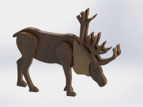 Wooden Reindeer Free CDR Vectors Art