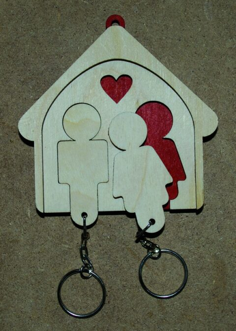 Laser Cut His And Hers Key Holder Wall Mount Key Chain Holder Gift For Couples Free CDR Vectors Art