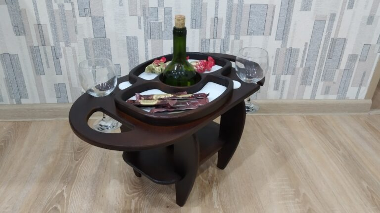 Laser Cut Wine Table Wine Bottle And Glass Holder Free CDR Vectors Art