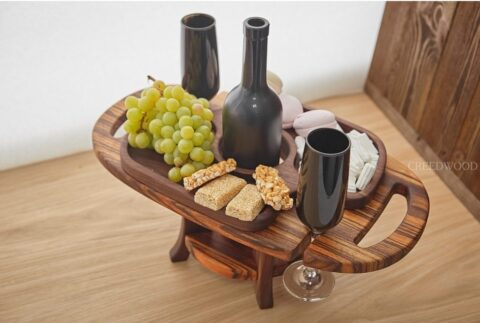 Laser Cut Wooden Wine Table And Glass Holder Free CDR Vectors Art