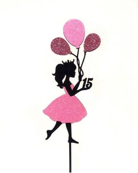 Laser Cut Princess Cake Topper Hot Air Balloon Girl Birthday Cake Decor Free CDR Vectors Art