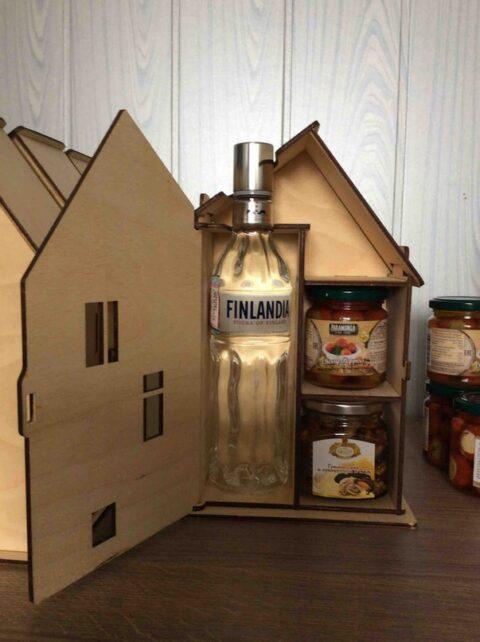 Laser Cut House Shaped Vodka Gift Box 4mm Plywood Free CDR Vectors Art