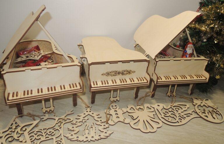 Laser Cut Piano Music Box Free CDR Vectors Art