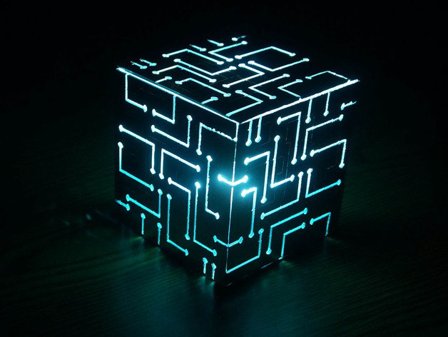 Alien Cube Big Lamp Laser Cut Free PDF File