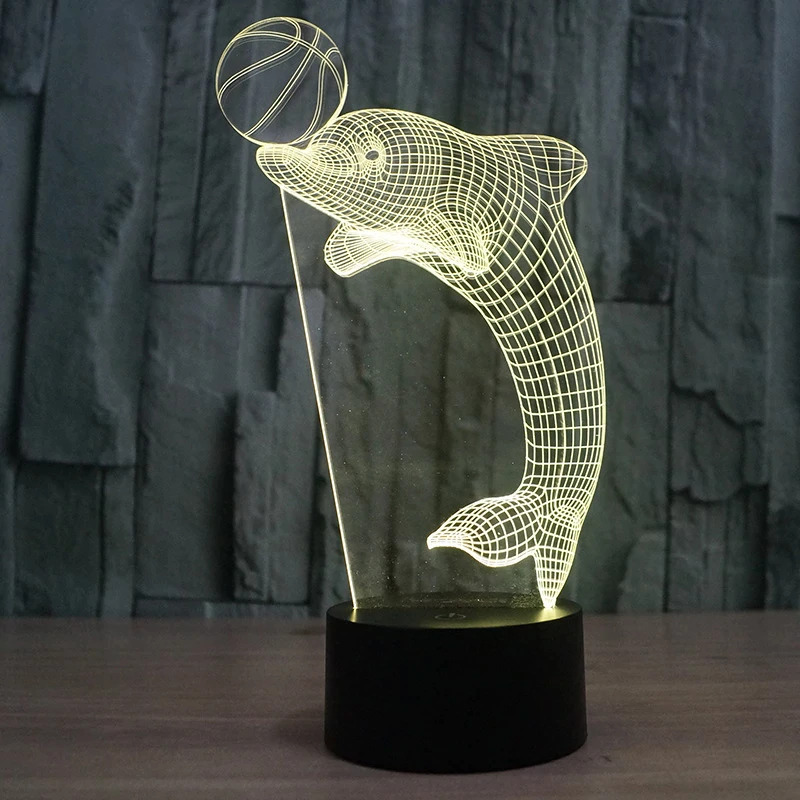 Laser Cut Dolphin 3d Nightlight Led Deco Lamp Free PDF File