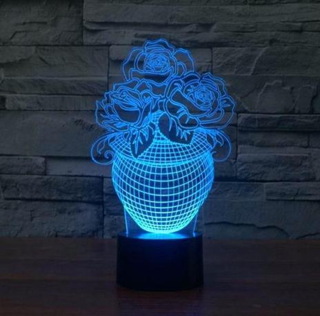 Rose In A Vase 3d Illusion Lamp Led Night Lights Free PDF File
