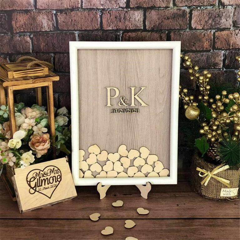 Laser Cut Wedding Guest Book Box With Hearts Free CDR Vectors Art
