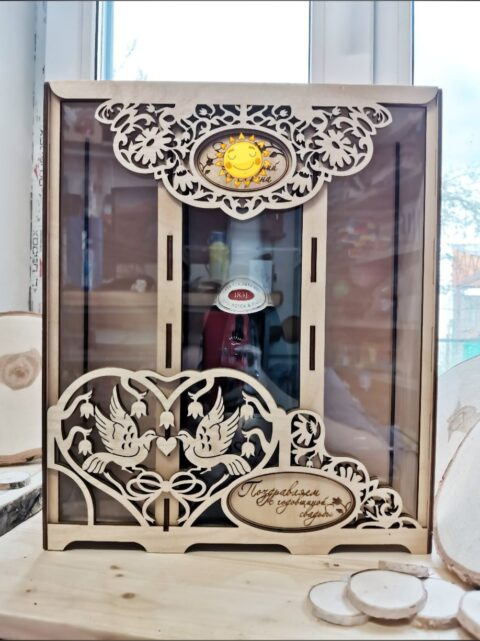 Laser Cut Wedding Wine Box With Two Wine Glasses Free CDR Vectors Art