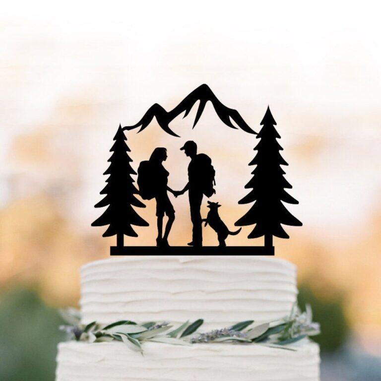 Laser Cut Hiking Wedding Couple Cake Topper Free CDR Vectors Art