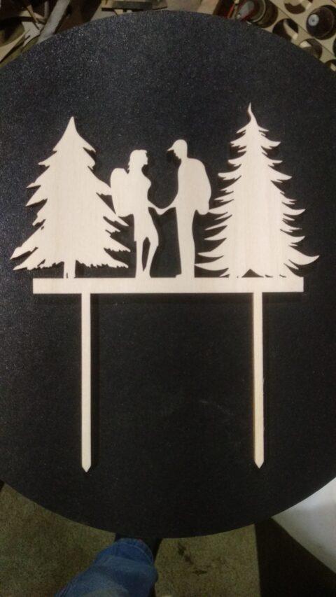 Laser Cut Tourist Couple Topper Free CDR Vectors Art