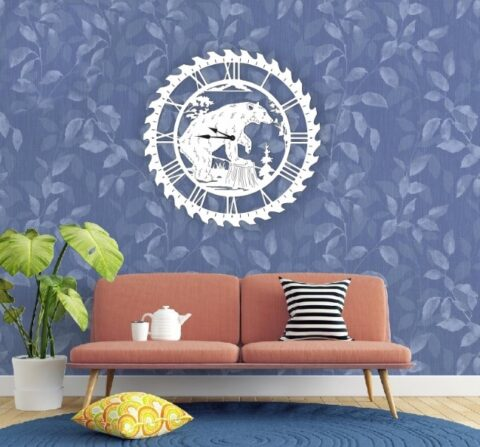 Laser Cut Bear Wall Clock Wall Decor Free CDR Vectors Art