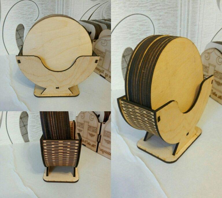 Laser Cut Engraved Coaster Set With Holder Free CDR Vectors Art