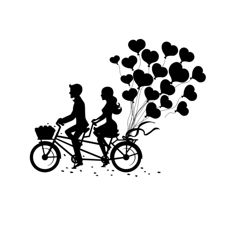 Laser Engraving Romantic Couple On Tandem Bike Free CDR Vectors Art