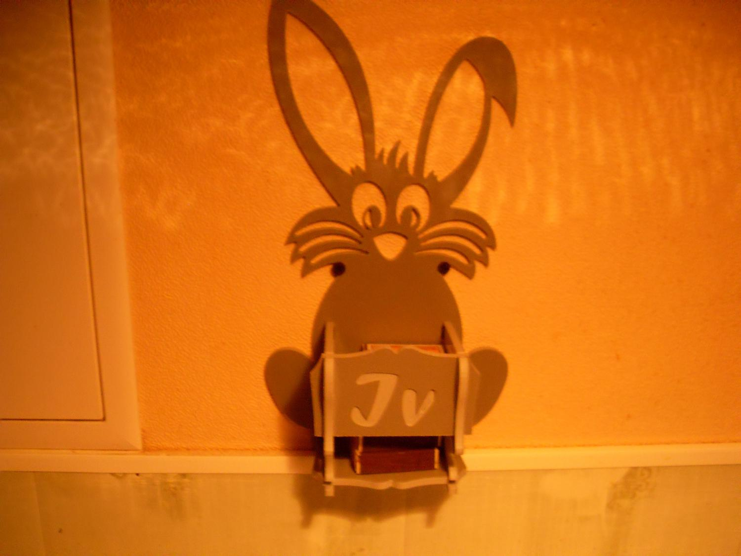 Laser Cut Bunny Match Holder Wall Box For Kitchen 4mm Free AI File