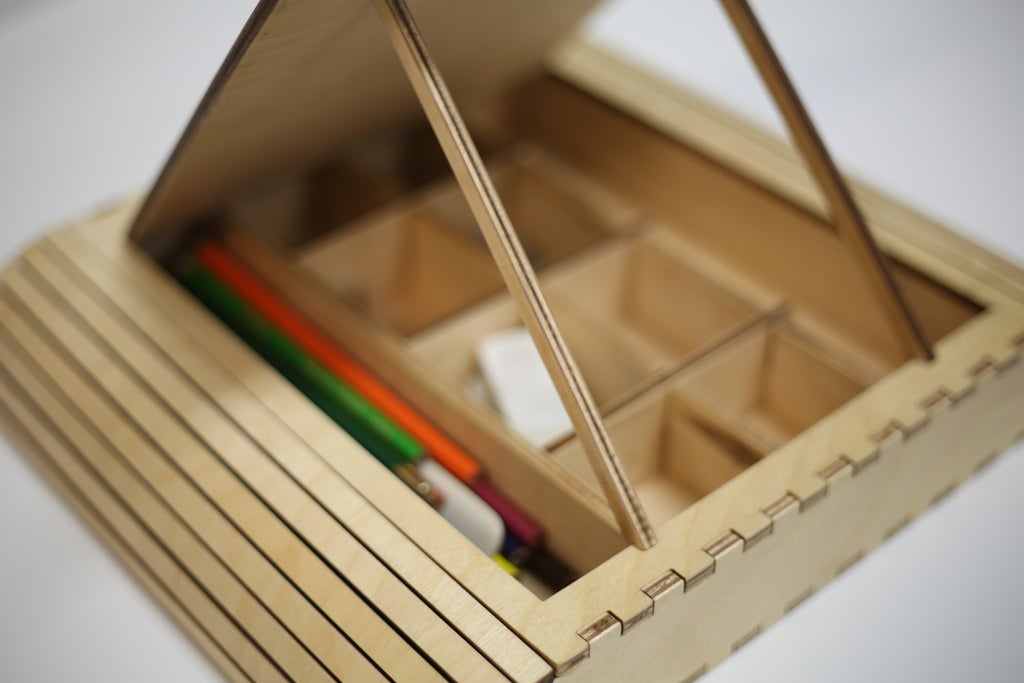 Laser Cut Storage Box For Students Free AI File