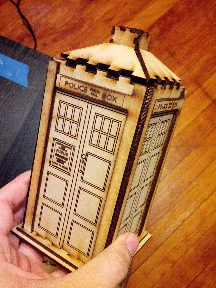 Laser Cut Wooden Police Box Tardis Toy Free AI File