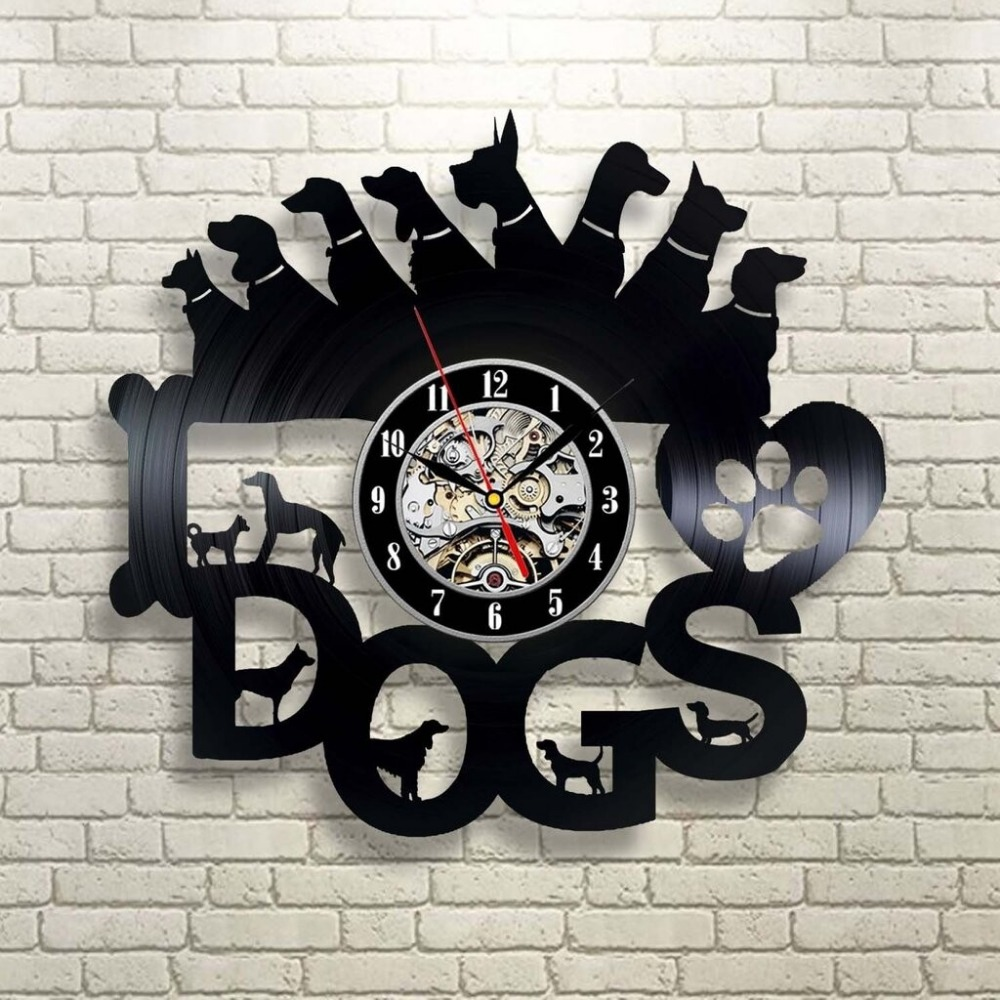 Laser Cut Dogs Wall Clock Gift For Dog Lover Free DXF File