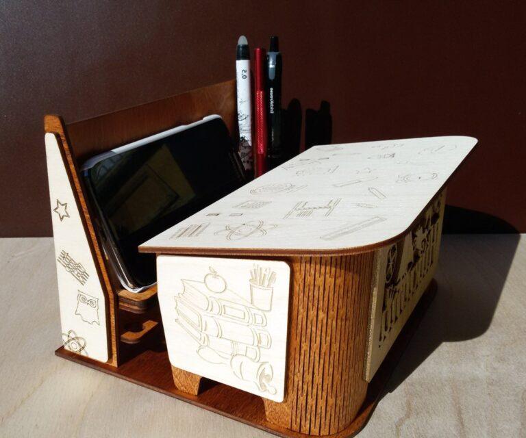 Laser Cut Classroom Furniture Shaped Organizer Phone Stand Pencil Holder Gift For Teacher Free CDR Vectors Art