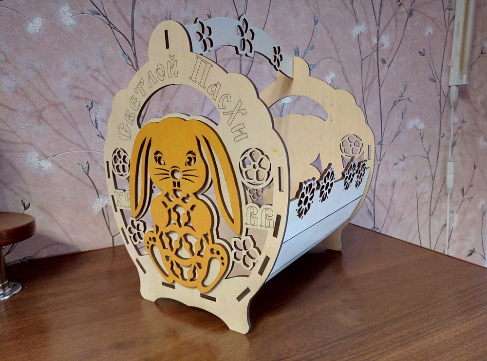 Laser Cut Decorative Basket With Bunny Free CDR Vectors Art